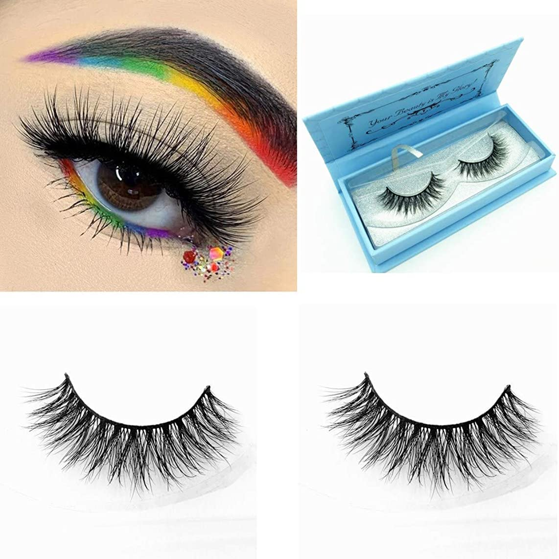 Miss Kiss 3D Mink Lashes Reusable Strip,100% Siberian Mink Fur False Eyelashes Hand-made Natural Style Cruelty Free 1 Pair Eye Lash Package (3D04)
