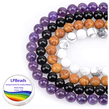 LPBeads 100PCS 8mm Natural Mixed Color Gemstone Round Loose Beads for Jewelry Making with Crystal Stretch Cord