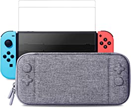 Nintendo Switch Slim Case and Tempered Glass Screen Protector, Protective Travel Carrying Case with 10 Game Cartridges, Hard Shell Pouch for Nintendo Switch Console and Accessories by MayBest (Gray)