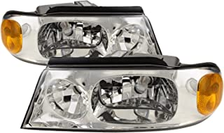 HEADLIGHTSDEPOT Chrome Housing Halogen Left and Right Headlights Pair Compatible With Holiday Rambler Vacationer 2003-2005 Motorhome RV
