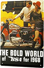DYTrade Tin Metal Sign The Bold World of for 1968 BSA Motorcycle Man Woman red hat 20x30 cm Metal Shield Wall Art Deco Decoration Retro Advertising Vintage