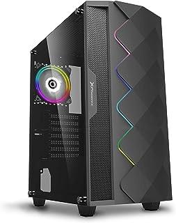 Phoenix Technologies - Torre Gaming Negra RGB, Cristal Templado, Compatible con Placas ATX, Mini-ATX, Incluye Ventilador RGB, Filtros Anti-Polvo y Tira Frontal RGB Sincronizada con Ventilador (Negro)