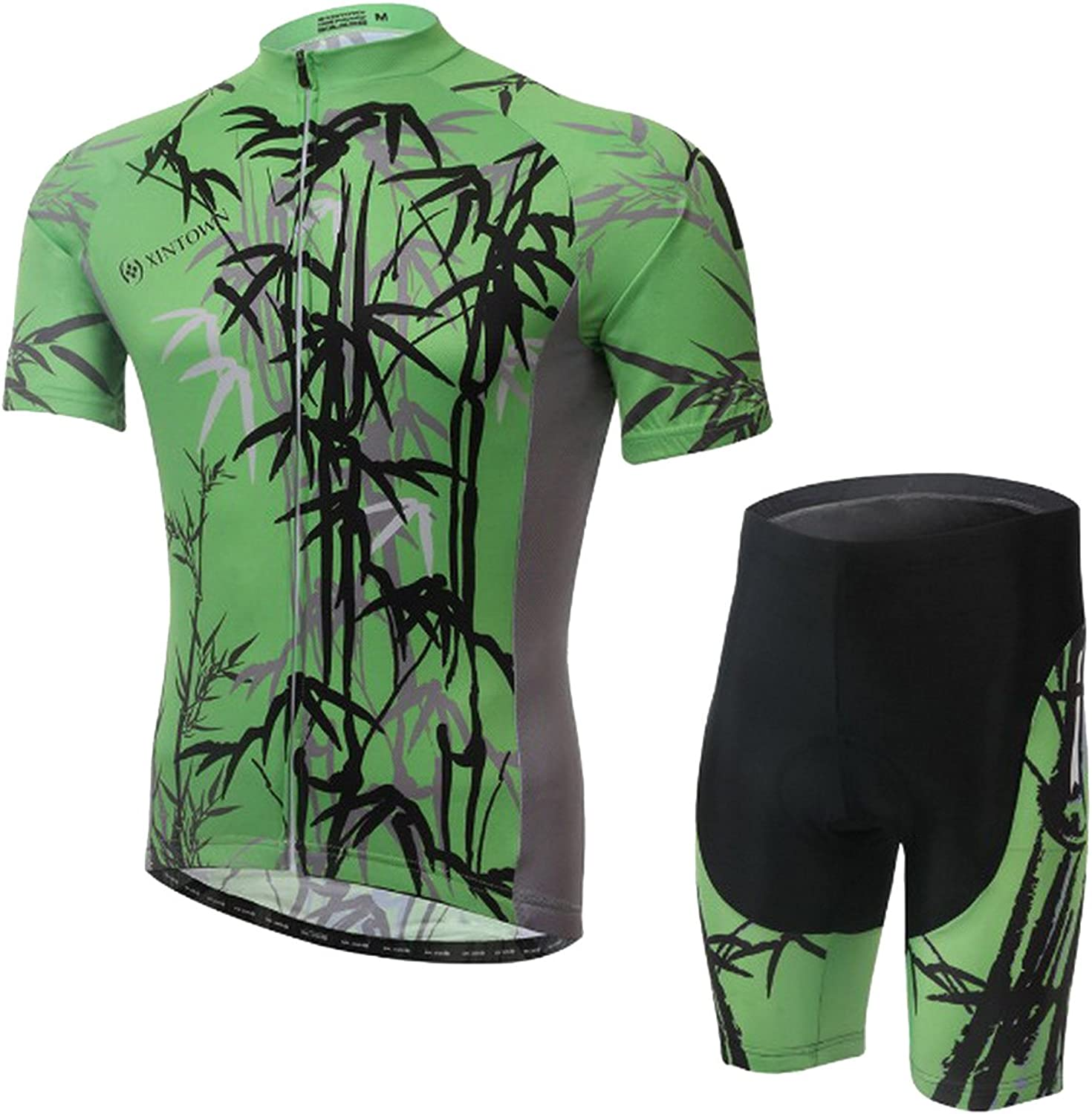 Summer Men's Cycling Clothing Suit Breathable UV Predection Short Sleeve Shorts Set Green