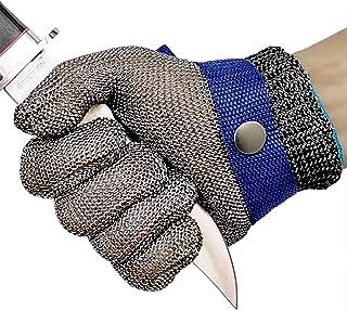 OKAWDACH Guanti Antitaglio Cucina Acciaio Inox Rete Metallica Guanto Livello 5 per Cucina e macellai e Pesca (M)