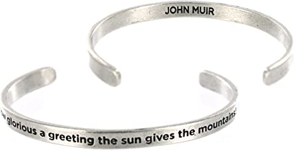 How Glorious a Greeting the Sun Gives the Mountains John Muir Unisex Cuff Pewter Bracelet