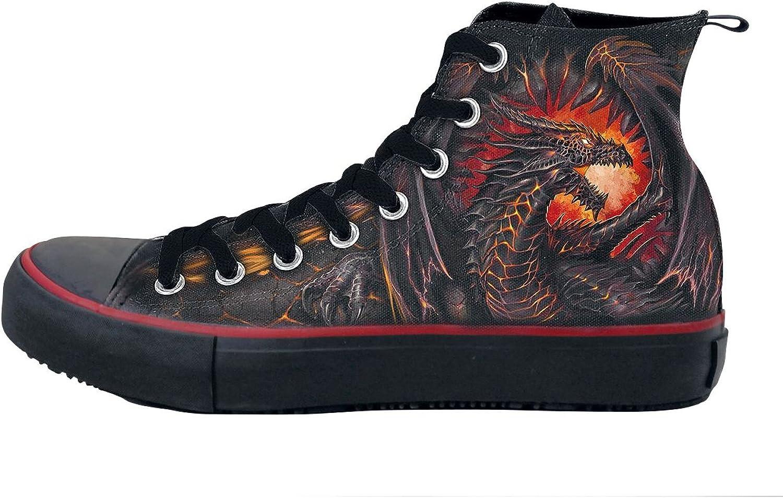 Spiral - Dragon Furnace - Sneakers - Men's High Top Laceup, Bag, 2 Sets Laces Black,orange