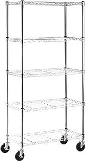 AmazonBasics 5-Shelf Shelving Storage Unit on 4'' Wheel Casters, Metal Organizer Wire Rack, Chrome Silver
