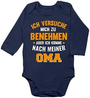 Shirtracer Sprüche Baby - Ich versuche Mich zu benehmen Aber ich komme nach meiner Oma orange - Baby Body Langarm