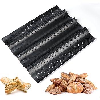 Schramm/® Baguette-Blech mit Antihaftbeschichtung f/ür 3 Baguettes 38,5 x 28,5 cm Baguetteform Baguette Backblech Blech Brotbackform