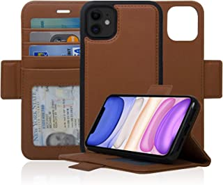 Navor Detachable Magnetic Wallet Case with RFID Protection Compatible for iPhone 11 [6.1 inch] [Vajio Series] - Brown [IP11VJBR]