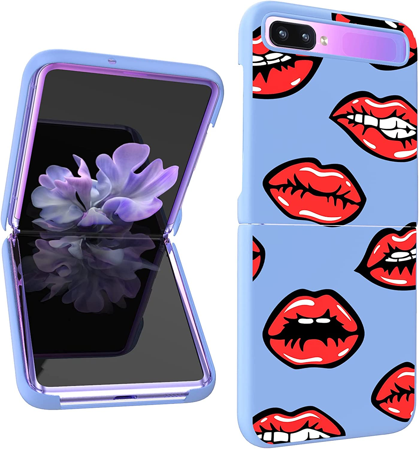 AIGOMARA Compatible with Samsung Galaxy Z Flip 5G Hard PC Case Red Lips Pattern Anti-Scratch Shockproof Protection Thin Slim Phone Cover for Galaxy Z Flip 5G, Purple