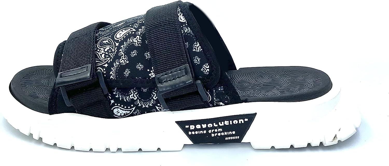 Men's Slip-on Slides - Unique Fashionable Trending Design With Optimal Ergonomic Comfort - Breathable Open Toe Indoor & Outdoor Sandals With Adjustable Buckle and Lightweight Non-slip Sole