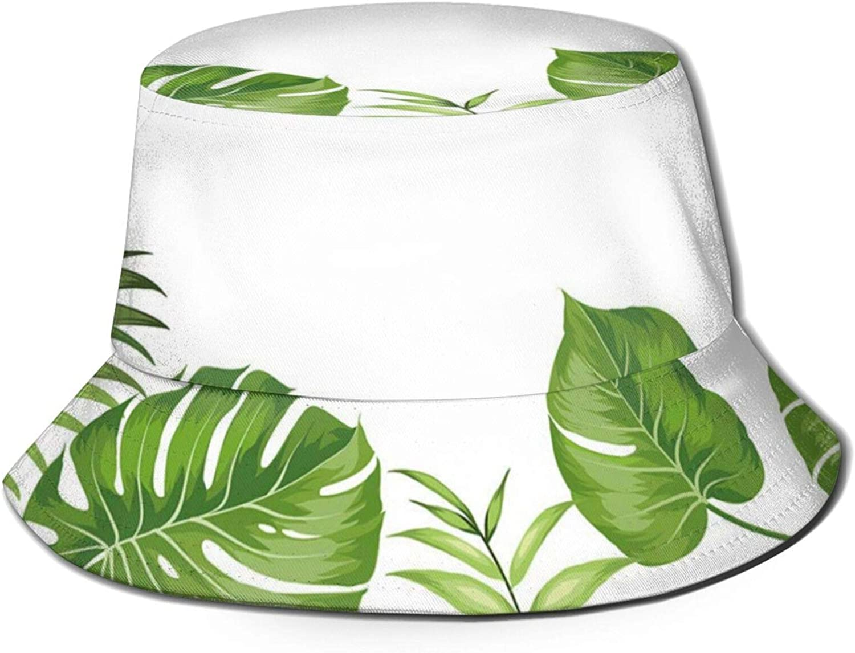 Nature Jungle Forest Rainforest Inspired Leaves Plant Foliage Swirls Botanic Image Bucket Hat Beach Fisherman Hats for Unisex