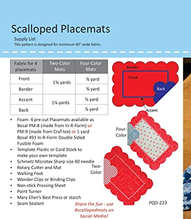 Precut Craf-Tex Interfacing Pattern + 4 Scalloped Placements by Poorhouse Quilt Designs
