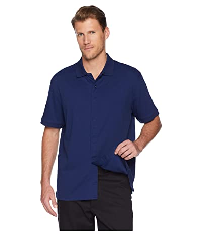 Magna Ready Classic Fit Ribbed Collar Knit Polo (Deep Navy) Men