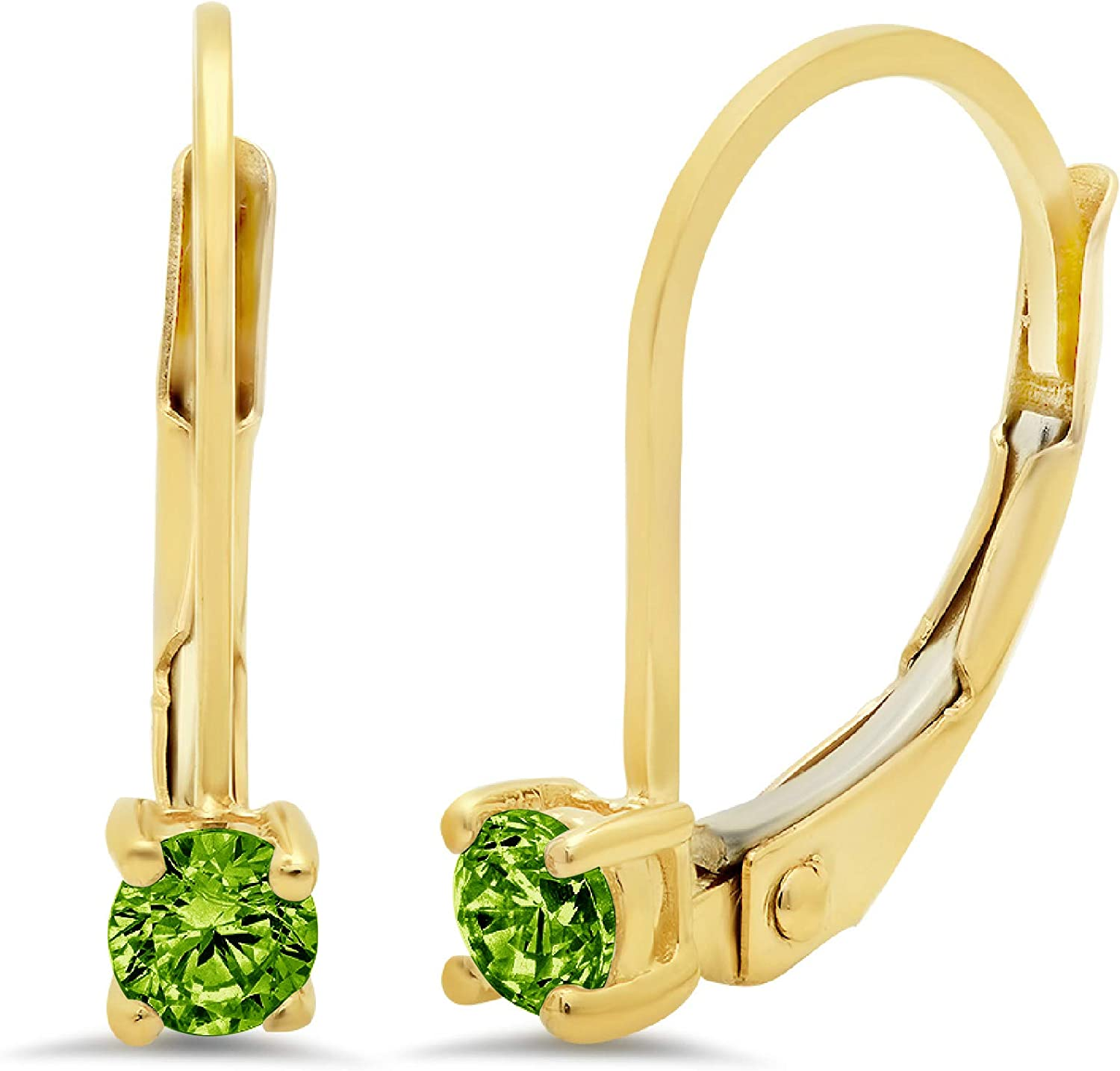 0.50 ct Brilliant Round Cut Solitaire Designer Genuine Natural Green Peridot Gemstone VVS1 Ideal Flawless pair of Leverback Drop Dangle Earrings Solid 14k Yellow Gold Clara Pucci