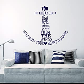 Wall Decal Decor Nautical Anchor Wall Decal Quote - You Be The Anchor That Keeps My Feet On The Ground - Vinyl Stickers Wall Lettering(navy blue, 22
