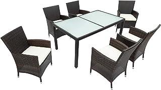 DFGGG Juego de muebles de jardín de ratán, juego de 6 sillas y mesa de comedor de ratán