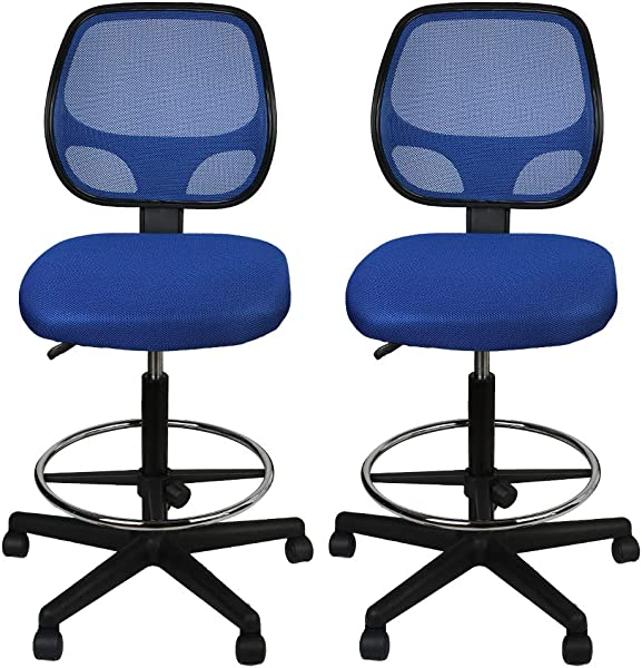 LUCKWIND Office Drafting Chair Mesh Armless Task Ergonomic Lumbar Support MidBack Computer Desk Chair Adjustable Stool Swivel Chair With Adjustable Chrome Foot Rest SGS BIFMA 21 27 Blue For Prime
