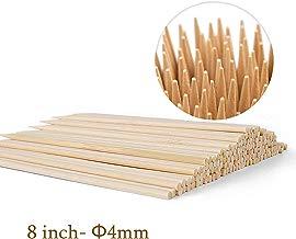 "100 Pcs 8"" Study Bamboo Skewers - 4mm Thick Natural Grill Bamboo Sticks BBQ Shish Kabob Sticks for Appetizers, Corn Dog, Corn Cob, Beef, Fruit"