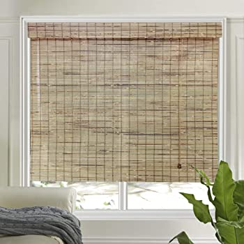 LETAU Wood Window Shades Blinds, Bamboo Light Filtering Custom Roman Shades, Pattern 7