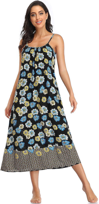 Ruiyige Women Boho Beach Dress - V Neck Adjustable Spaghetti Strap Long Maxi Sundress with Pockets