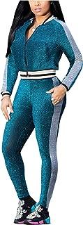 Women Long Sleeve Zipper Up Jacket and Long Pants Sparkle Pantsuit Set
