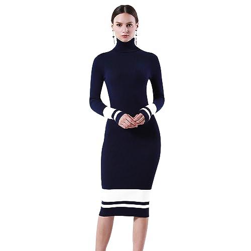 PrettyGuide Women Slim Fit Ribbed Turtleneck Long Sleeve Maxi Knit Sweater  Dress a1c2c5a42f6d