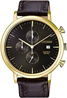 CITIZEN Mens Quartz Watch, Chronograph Display and Leather Strap - AN3612-09X
