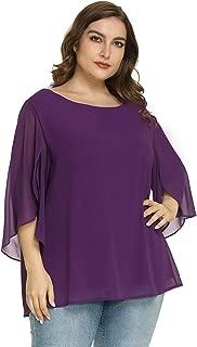 Hanna Nikole Women's Plus Size 3/4 Overlap Sleeve Chiffon Blouse Flowy Top