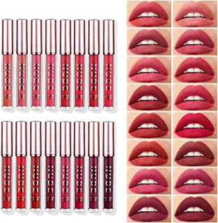 Sumeitang 16 Colors Matte Liquid Lipstick Set High Pigmented Smooth Soft Nude Red Color Velvety Matte Lip Gloss Gift Set for Women and Girl Lip Beauty Cosmetics Makeup Kit 16 Pcs