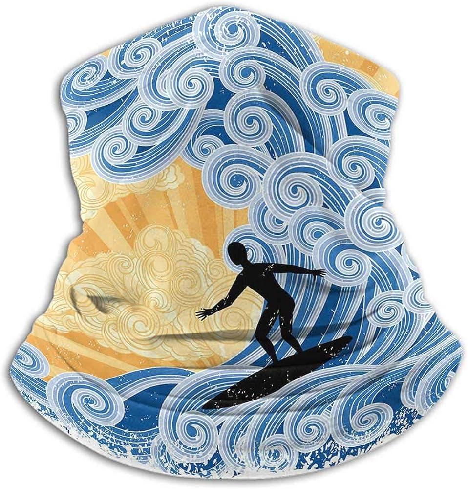 Neck Gaiters for Men Wave Unisex Anti-Dust Washable Surfer Slides on Big Stylized Wave Curly Design Water Swirls Grunge Retro Fun Black Blue Apricot
