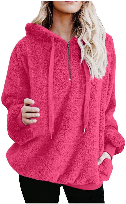 haoricu Women Casual Double Fuzzy Sweatshirt Faux Fleece Zip Pullover Hoodies Coat Soft Comfy Outwear