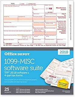 "Office Depot Brand 1099-MISC Inkjet/Laser Tax Forms with Software for 2018 Tax Year, 2-Up, 4-Part, 8 1/2"" x 11"", Pack of 25 Forms"