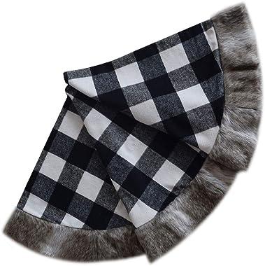 ONGLYP 50'' Black and White Buffalo Check Plaid Christmas Tree Skirt with Faux Fur Border Christmas Decoration (50inc