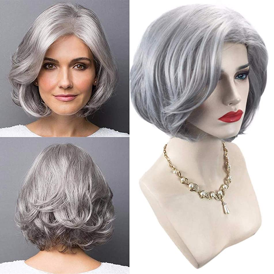 Older Women Grey Short Bob Curly Hair Synthetic Wigs With Free Wig Cap,Natural Hairline As Real Hair Wigs 12inch (color : Gray)