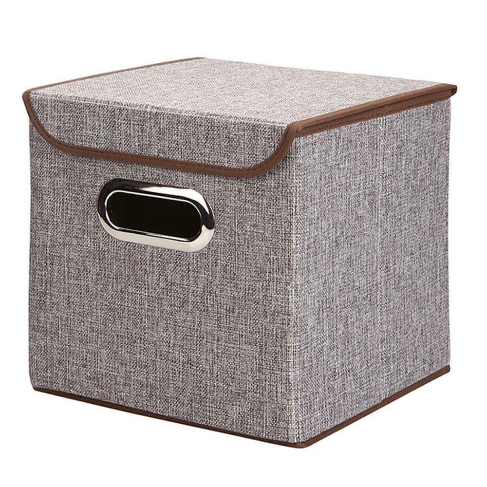 Caja plegable con tapa para almacenar ropa, hecha de material no tejido y en forma de cubo, marrón, 9.8x9.8x9.8: Amazon.es: Hogar