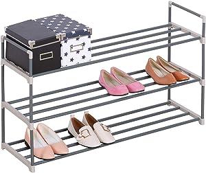 eSituro SSHR0010 Porte-Chaussure étagère Rangement de Chaussures en Acier et Plastique Stable Robuste 3 Niveaux