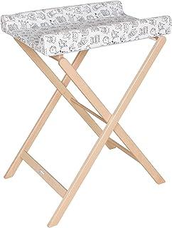 Geuther Table àLanger Pliable Trixi, Naturelle, Matelas Coloris Monstre