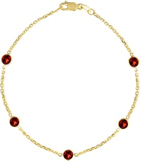 14k Yellow Gold Round Gemstone Birthstone Cable Bracelet and Anklet