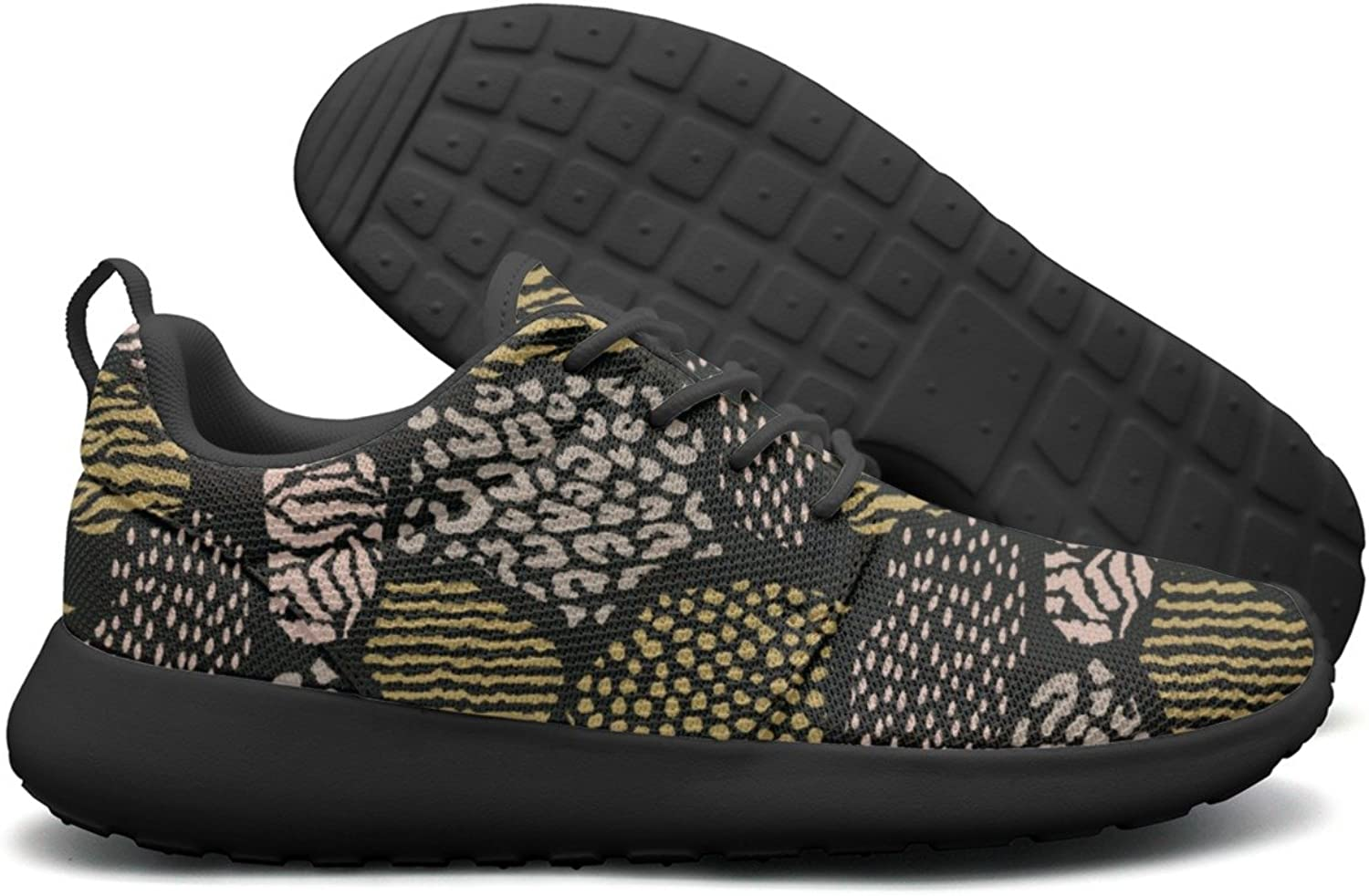ERSER Black Abstract Animal Print Weighted Running shoes Women