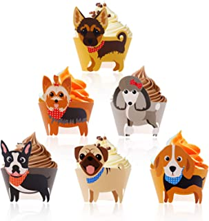 Dog Cupcake Wrappers Puppy Shaped Baby Shower Pet Birthday Party Supplies Animal Cake Decoration 24 Pcs