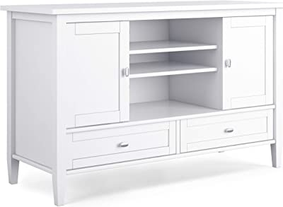 SIMPLIHOME Warm Shaker SOLID WOOD Universal TV Media Stand, 47 inch Wide, Farmhouse Rustic, Living Room Entertainment Center, Storage Cabinet, for Flat Screen TVs up to 55 inches, White
