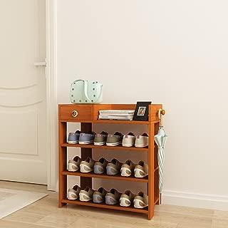 DL furniture - Espresso Finish Wood Storage Shoe   4 Shelves Storage Rack