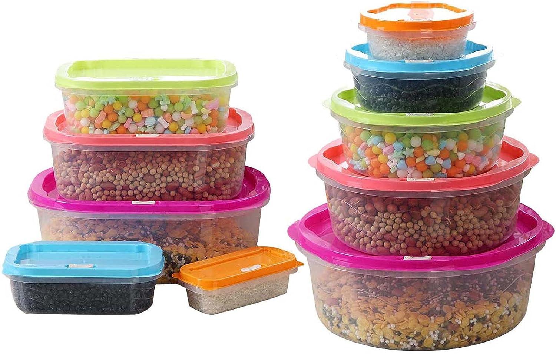 YFjyo Set de 10 recipientes herméticos para almacenar Alimentos con Tapa | Contenedores de Cocina y despensa a Prueba de Fugas sin BPA | Fiambreras apilables para preparación de Comidas