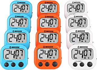 WECKEW Digital Kitchen Timer, Cooking Timer, Large Display, Strong Magnet Back, Loud Alarm, Count up Countdown Timer for Kids Baking Exercise Game (12 Pack, 4White+4Orange+4Blue)
