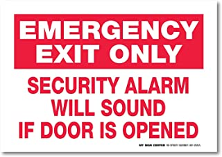 """(2 Pack) Emergency Exit Only Alarm Will Sound Sign, Premium 4 Mil Self Adhesive Vinyl Decal, Indoor and Outdoor Use, 7"""" x ..."""
