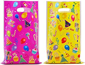 40 Pack Plastic Favor Bags Assorted Colors Goodie Bags for Kids Birthday Party