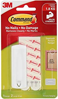 Command 17040ES Sawtooth Picture Hanger with Water Resistant Strips, Holds 1.8 Kg each hook, white color. 1 hook and 2 str...