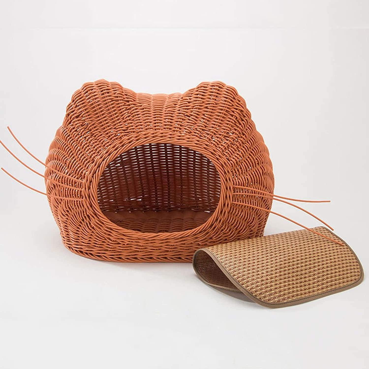 Cani Bed and Furniture Bed Blankets Rattan cat Litter Summer Enclosed cat House cat Pet Bed Doghouse Kitty Fornits Cool Four Seasons Universal (Colore:Brown, Dimensione: 35 * 25cm)